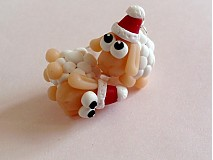 Náušnice - biele vianocne ofce - 3244427