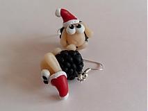 Náušnice - cierne vianocne ofce - 3244440