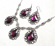 Sady šperkov - fialový kráľovský set - 3248622