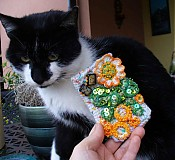 Púzdro na mobil - Mačka s chryzantémou