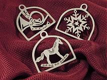 Set vianočných ozdôb - Trubka, vločka, koník (D13)