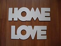 Tabuľky - Drevený nápis HOME LOVE - 3255033