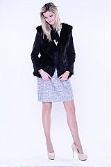 Kabáty - Kožušinový čierny kabátik s dlhším vlasom - 3288751