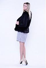 Kabáty - Kožušinový čierny kabátik s dlhším vlasom - 3288754