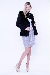 Kabáty - Kožušinový čierny kabátik s dlhším vlasom - 3288755