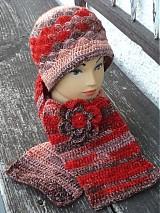 Čiapky - set červeno-hnedý melir - 3300315