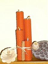 Svietidlá a sviečky - Adventné sviečky oranžové, 4 ks - 3316452