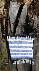 Kabelky - Tkaná taška modro-biela - 3317610