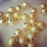 Korálky - Korálky hviezdny prach zlaté 10mm, 0,16€/ks - 3342864