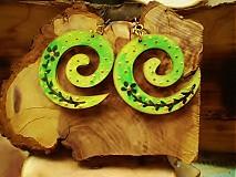 -  Obojstranné 3D náušnice - zelený kvietok - 3373476
