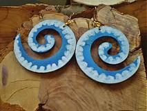 Náušnice - Obojstranné 3D náušnice - modravozelené - 3377637