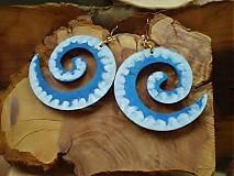 Náušnice - Obojstranné 3D náušnice - modravozelené - 3377638