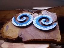 Náušnice - Obojstranné 3D náušnice - modravozelené - 3377639