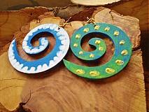 Náušnice - Obojstranné 3D náušnice - modravozelené - 3377647
