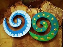 Náušnice - Obojstranné 3D náušnice - modravozelené - 3377648