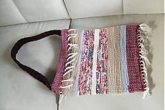 Kabelky - Tkaná taška hnedo-bordová - 3382360
