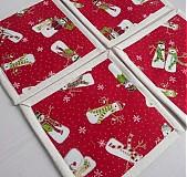 Úžitkový textil - Novelty - podšálky so snehuliakmi (posledná sada) - 3389082