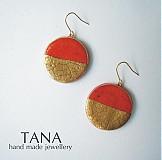 Náušnice - Tana šperky - keramika/zlato, Západ horúceho slnka - 3401240