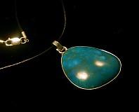 chryzokol -modrozelený prívesok- ag 925