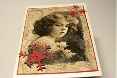 Papiernictvo - Vianočná vintage pohľadnica - dievčatko - 3457709