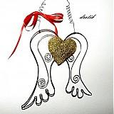 Dekorácie - Anjelské krídla so zlatým srdiečkom..♥ - 3462326