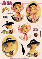 - 3D decoupage papier ženy - 3476324