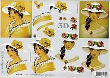 - 3D decoupage papier ženy - 3476330