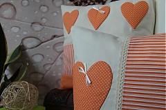 patchwork deka a obliečka oranžová srdiečko za super cenu