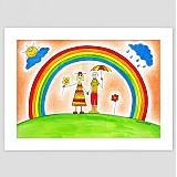 Obrazy - Deti a dúha veselý detský obraz v ráme - 3514853