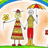 Obrazy - Deti a dúha veselý detský obraz v ráme - 3514890