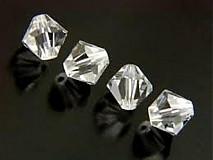 Korálky - Bicone - Crystal Clear /4mm/ 10ks - 3529522