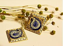 Náušnice - Modrá čipka - 3556616