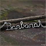 Náhrdelníky - Náhrdelník s menom z postriebreného drôtu: 6-8 písmen - 3563308
