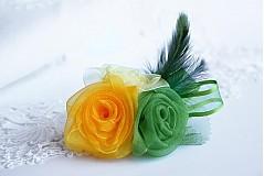 Odznaky/Brošne - Ružička  žlto-zelená - 3592273