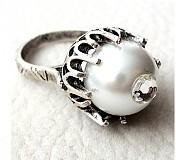 Prstene - strieborné perlové oko - 3593693