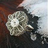 Prstene - silver flower - 36087