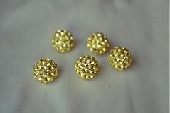 Korálky - shamballa korálky CZ kryštál zlaté, 10mm, 0.25€/ks - 3643735