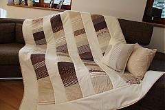 Úžitkový textil - Prehoz, vankúš patchwork vzor béžovo-hnedá, deka 140x200 cm - 3662508