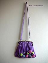 Kabelky - fialová kabelka s kvetmi - 3670004