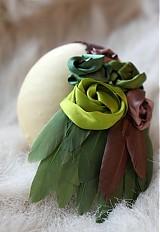 Ozdoby do vlasov - Zelená s perím - 3672802