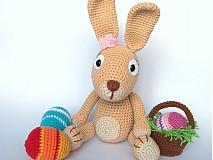 Návody a literatúra - Háčkovaný králiček s kraslicami a košíčkom - návod - 3680559