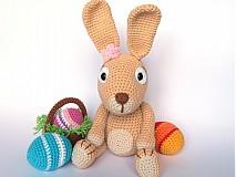 Návody a literatúra - Háčkovaný králiček s kraslicami a košíčkom - návod - 3680561