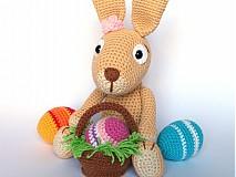 Návody a literatúra - Háčkovaný králiček s kraslicami a košíčkom - návod - 3681952