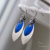 Náušnice Double s velkou stříbrnou (Modré)