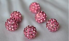 shamballa korálky CZ kryštál ružové, 10mm, 0.35€/ks