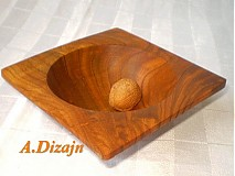 Nádoby - Štvorcová moderná miska z čerešne / na objednávku - 397845