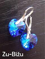 Náušnice - Strieborné náušnice Modré srdiečka - 402638