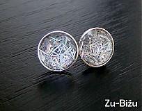 Náušnice - Strieborné trblietavé - 496126