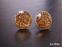 Náušnice - Zlaté trblietky 10 mm - 497667