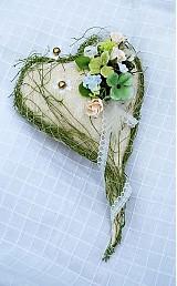 Prstene - Prírodné srdiečko na svadobné obrúčky II. - 541106